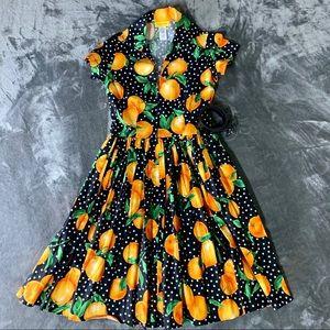 New Bernie Dexter Dive In Juicy Orange Print Dress